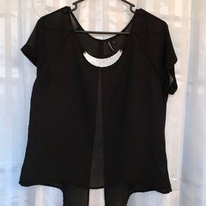 HeartSoul black sheer short sleeve top, Large nice